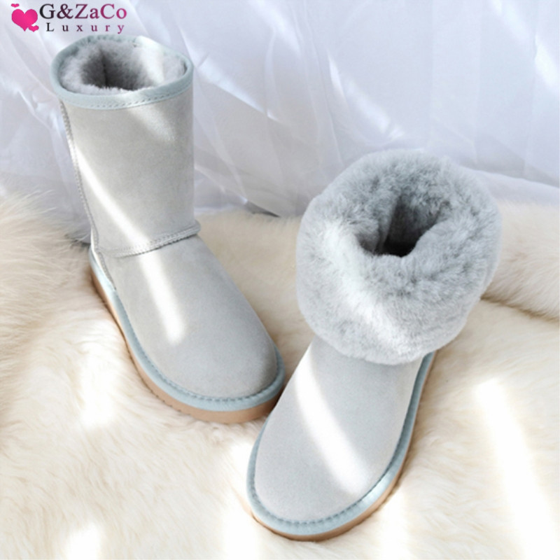 G Zaco Luxury Sheepskin Snow Boots Natural Wool Real Sheep Fur Middle Calf Boots Non slip