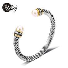 UNY Bracelet Imitation Pearl Bangle Antique Designer Brand Vintage Jewelry Bangles Valentine Christmas Gift Women Cuff Bracelets