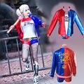 Nuevo Comando Suicida Harley Quinn Traje Femenino Payaso Ropa Cosplay Disfraces de Halloween Para Las Mujeres Chaqueta de la Capa Un Conjunto Uniforme