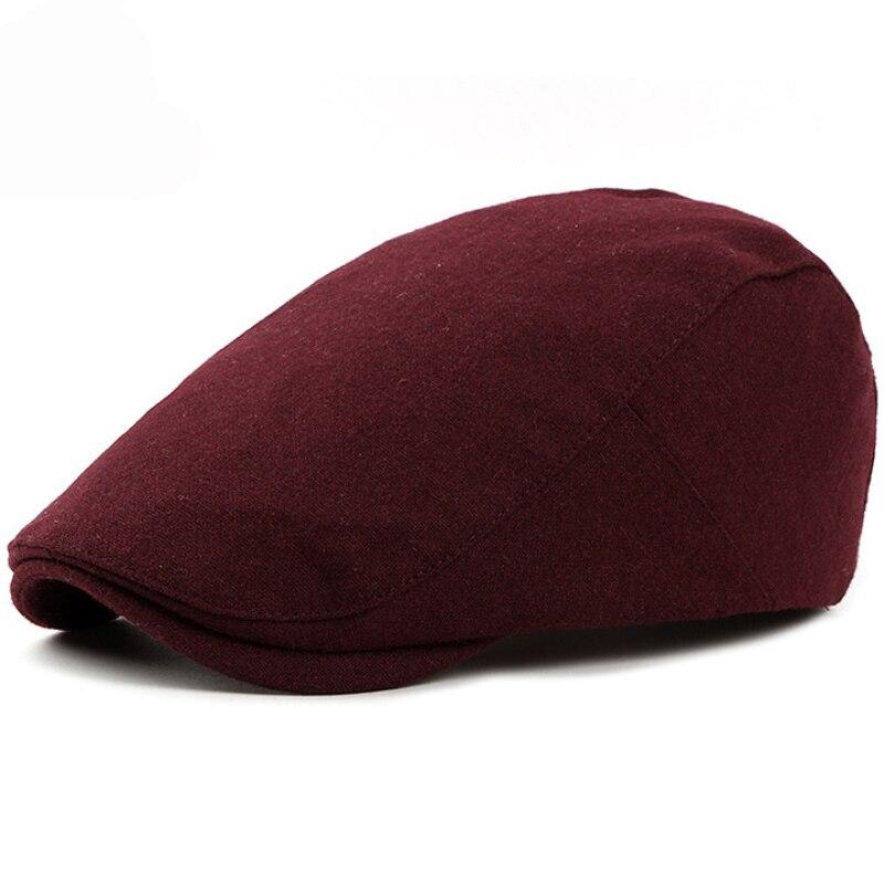 HT1319 nueva Otoño Invierno sombreros para las mujeres liso negro sólido  gris gorra plana moda lana 9135537fce2