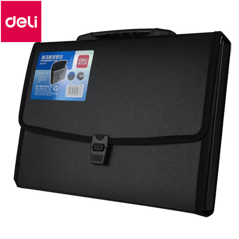Deli 1pcs Waterproof Business A4 Paper File Folder Bag High Quality PU Document Rectangle Office Home School Folder Supplies deli canvas file folder document bag business briefcase a4 paper storage organizer bag stationery school office supplies student