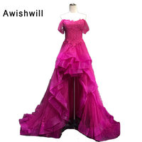Hot Pink Color Prom Dress High Low Off The Shoulder Beading Lace Tulle Lace Up Back