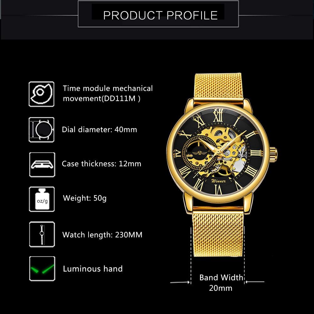 Winner Classic Golden Skeleton Mechanical Watch Men Stainless Steel Strap Top Brand Luxury Man Watch Vip Drop Shipping Wholesale Mechanical Watches