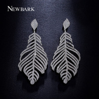 NEWBARK Luxury Bridal Drop Earrings White Gold Plated With Mirco Cubic Zircon Paved Matsuo Basho Long