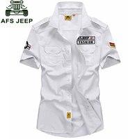 Plus Size XXXXXL Summer Men S 100 Cotton Shirts Navy Style Solid Color Dress Short Sleeve