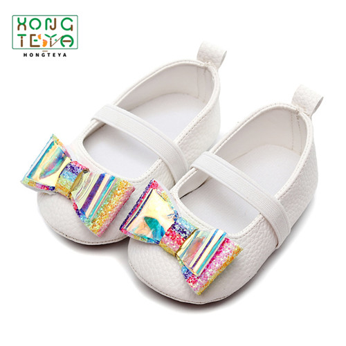 PU Leather Baby Girl Ballet Shoes Baby First Walkers Princess Rainbow Bow Toddler Shoes Soft Bottom Prewalkers For Baby Girl