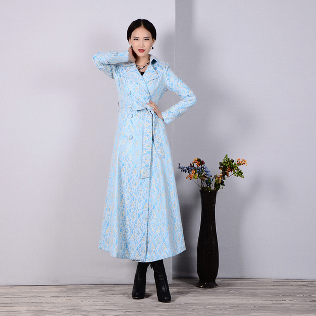 2016 Spring Autumn Fashion OL Embroidery Lace Trench Plus Size Double Breasted Slim Long Trench Coat Casual Female Windbreaker