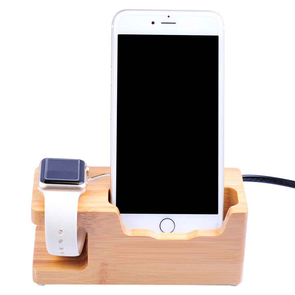 Bamboo Charging Station USB Charger Stand Holder for Apple Watch 38 ...