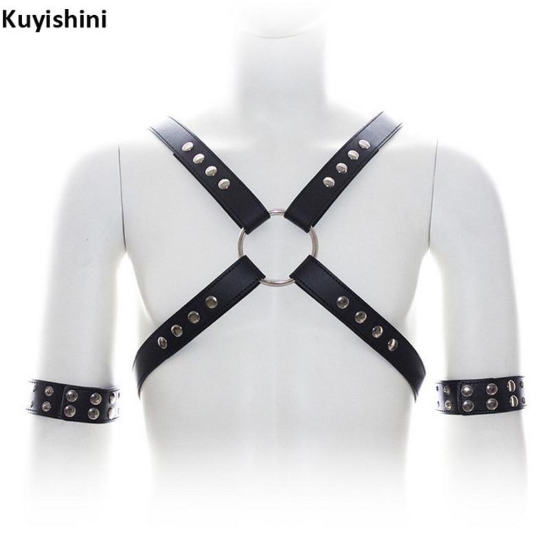 Sexy Men Punk PU Leather Harness Body Bondage Cage Bustier Corset Sculpting Chest Belts Suspender Braces Pants Arm Bracelets
