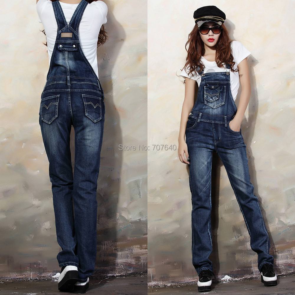 new fashion 2014 long denim overalls for women S 2XL denim ...
