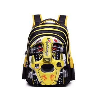 2019 Hot 3D EVA car children schoolbag racing Three dimensional waterproof schoolbag Boys and girls Lovely kids Cartoon Backpack - large