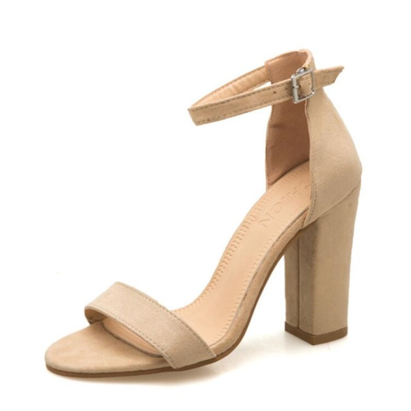 Square Heel Shoes Sandals Buckle Plus-Size Women Strap Summer for Girls