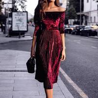 Women Vintage Long Dress New Arrivals 2017 Autumn Retro Robe Elegant Pleated Swing Elegant Maxi Party