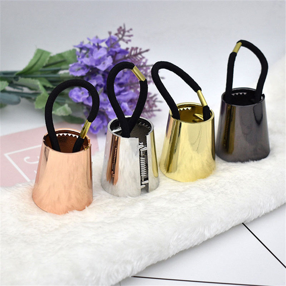 4 Colors Ponytail Holder Solid Woman Imitation Metal Elastic Hair Band Mirror Cone Speaker Hair Accessories Gold Silver Hot Sale