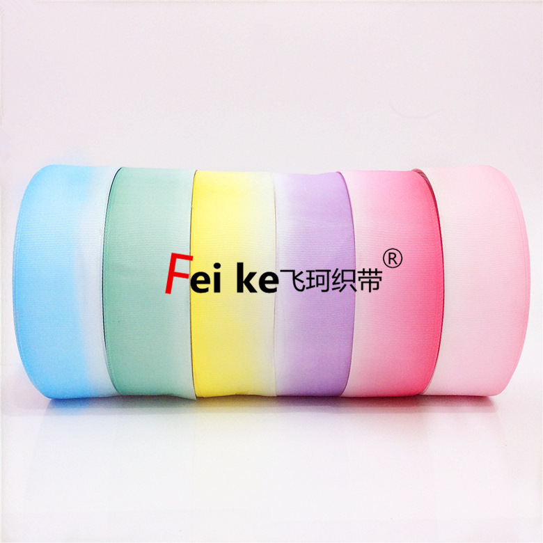 3.8cm-4cm rainbow printing tapered thread with DIY bow tie garment accessories gift packaging Roman Tam ribbon