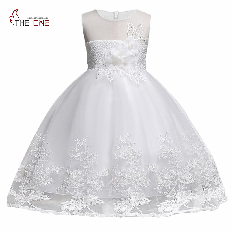 MUABABY 2018 Summer Girls Embroidered Pearl Floral Evening Wedding Party  Princess Prom Dresses Flower Girl for Kids 10a2631b286d