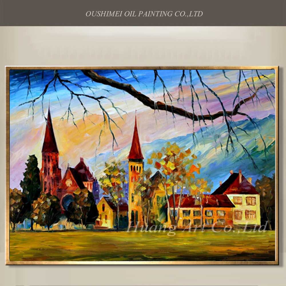 Top artist high skill hand painted village scenery oil painting on canvas wall artwork tower landscape paintings home decor art