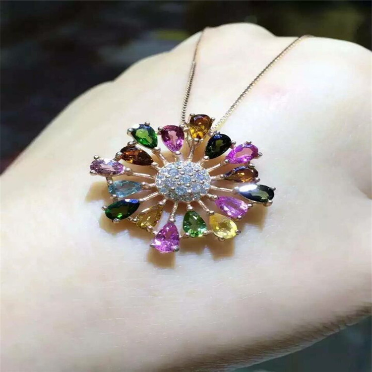 KJJEAXCMY boutique jewels 925 sterling silver natural tourmaline pendant necklace to customize accessories wholesale. kjjeaxcmy boutique jewels 925 sterling silver plated rose gold with natural tourmaline collarbone necklace chain
