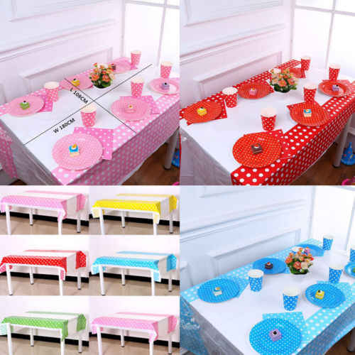 """מנוקדת פלסטיק חד פעמי מפת שולחן עמיד למים מסיבת חתונה יום הולדת שולחן בד 180 ס""""מ x 108 ס""""מ"""