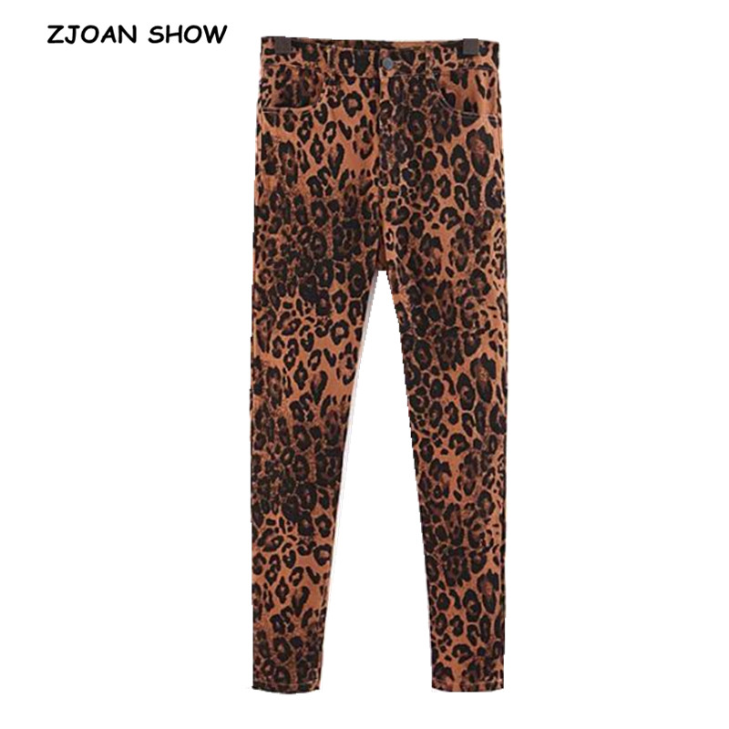 Vintage Skinny Leopard Jeans 2018 New Women Middle Waist Slim Fit Stretch Denim Pants Pockets Full Length Deinm Tight Trousers