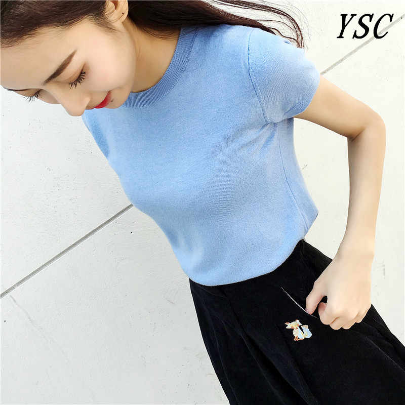 YUNSHUCLOSET 2017 New Design Cashmere blend Pullovers Pleasantly Short paragraph Short sleeve Shirt High-quality  Free Shipping