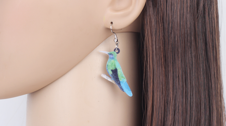 Bonsny Acrylic Flying Voilet Sabrewing Hummingbird Bird Earrings Big Long Dangle Drop Fashion Animal Jewelry For Women Girls Kid 10