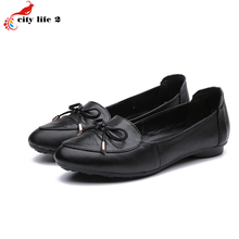 Flat With Bow Full Grain Leather Shoes Genuine Leather Soft Bottom Shoes Casual Non Slip Mother