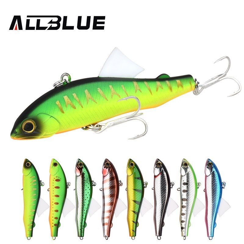ALLBLUE 2018 NEW VIB MODELS 80MM 21G Sinking Winter Ice Fishing Lure Freshwater Peche Artificial Bait Trout Bass Pike SICKLE80S trulinoya high quality metal vib lures fishing vib lure 75mm 23g sinking artificial vibrator bass bait free shipping