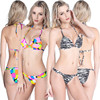 Maxmessy Pro Print Beach Bikini Swimwear Women Spa Bikinis Set Top with Pad Thong Bathing Push Up Female Swimsuit M-2XL