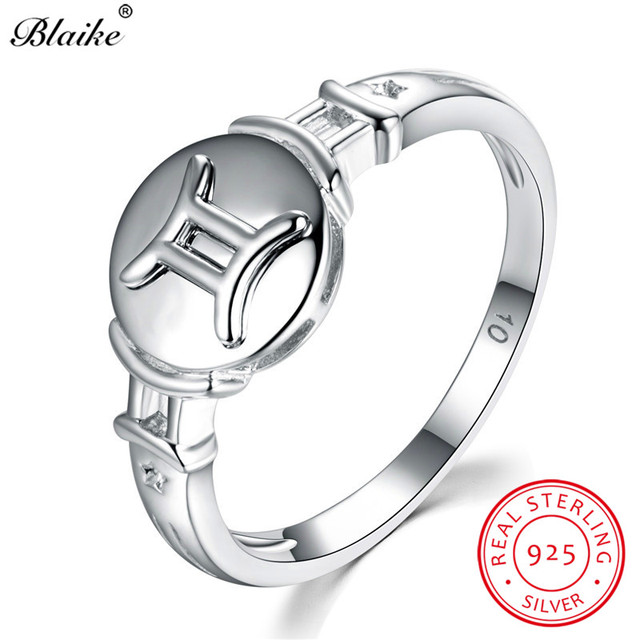 Blaike 100 Real 925 Sterling Silver Gemini Rings For Women Men Vintage Fashion Constellation Ring Fine Jewelry Birthday Gifts