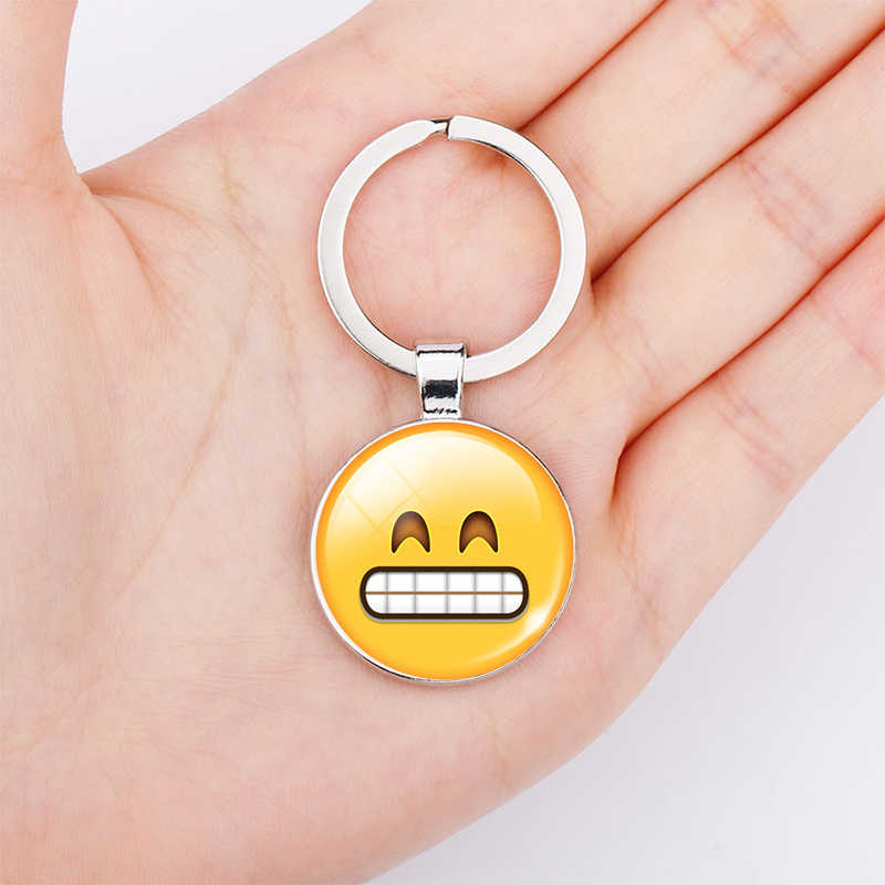 Divertido Emoji imágenes cabujón de cristal llavero sonrisa Smileys cara de aleación de plata llavero joyería regalo