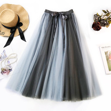 Wasteheart Women Blue Lace-Up Women Skirts Women's High Waist Pleated Skirts Mesh Ankle Length Long Skirt Clothing A-Line Skirts grey lace up design high waisted skirts