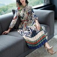 Slim High Waist Colorful Print Long Sleeve Chiffon Pleated Calf Length Dress Summer Spring New 2018 Women Elegant Style