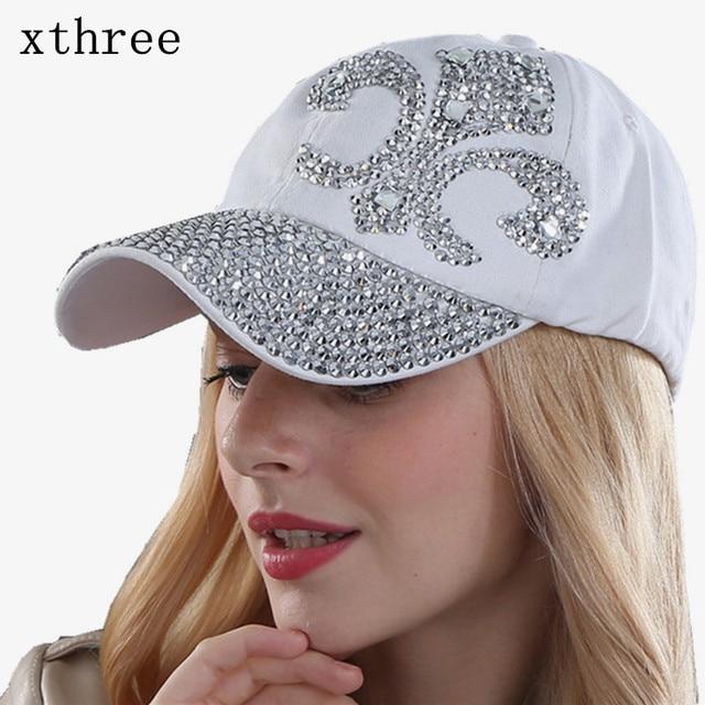 50b4920a4290e ... Xthree fashion hat caps sunshading men and women s baseball cap  rhinestone hat denim and cotton snapback ...