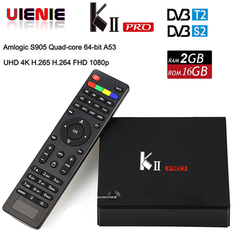 KII PRO DVB-S2 DVB-T2 S905d Android 7.1 TV Box Quad Core 2GB 16GB K2 pro DVB T2 S2 4K Media player Cline NEWCAMD Dual Wifi BT4.0