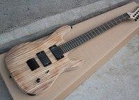 Free Shipping 6 String Electric Guitar with Matte Zebra Wood Body,Black Hardwares,String thru Body 17 11
