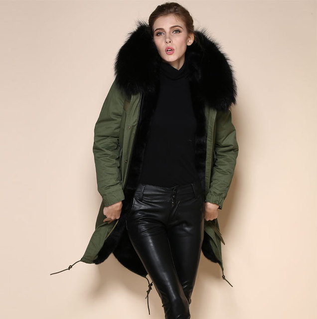 74083ae99c Ladies and Men Plus Size 2018 Factory Winter Military Black Faux Fur Lined  Parka European With Real Raccoon Fur Jacket