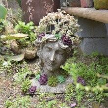 Garden Decor Courtyard Half Length Portrait Of A Girl Wearing A Succulent Necklace Garden Home Landscape Flower Pot Sculpture
