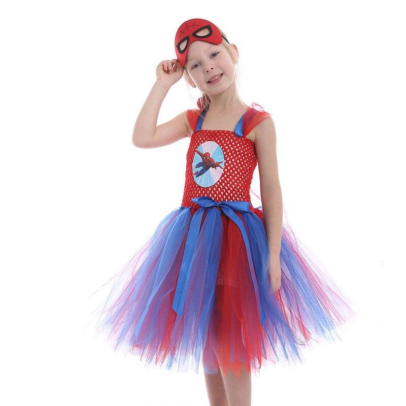 The Avengers Inspired Kids Girls Tutu Dress Halloween Christmas Spiderman Dress Up Costume Tulle Girl Birthday Party Dress 2-12y
