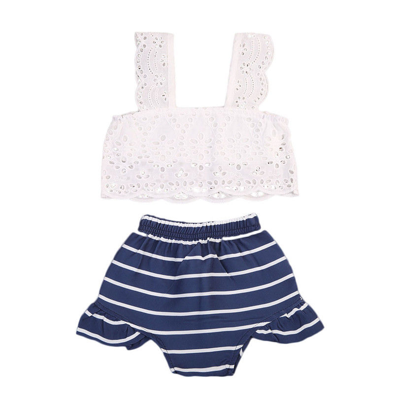 Newborn Infant Toddler Kids Baby Girls Outfits Clothes Summer Hollow Out White T-shirt Tops+ Striped Blue Shorts Clothing Set