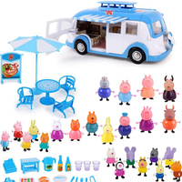 Peppa pig George Toys Car Dining Car Set Action Figure Original Anime toys for children Cartoon Family Party Dolls Birthday Gift