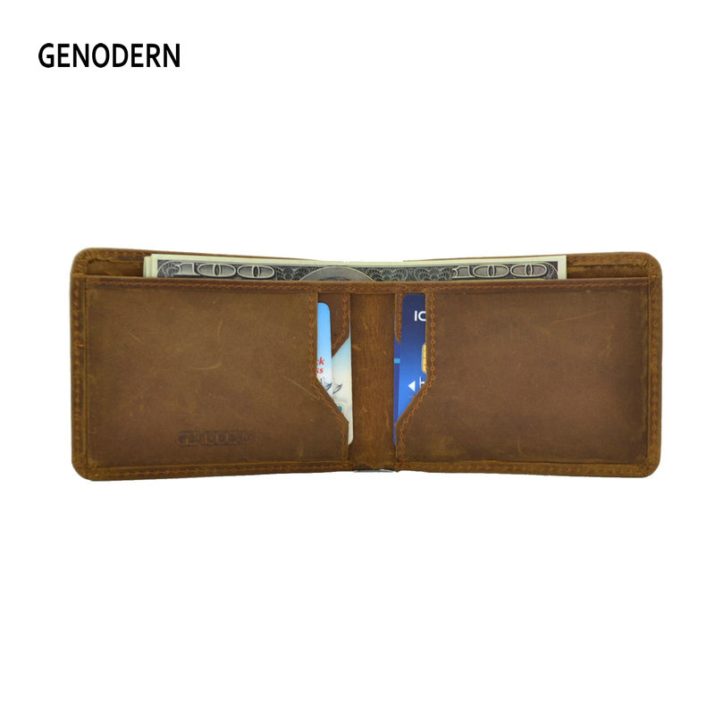 GENODERN Mini Purse for Men Crazy Horse Leather Male Slim Wallet Thin Male Purse Pocket Wallets for Male