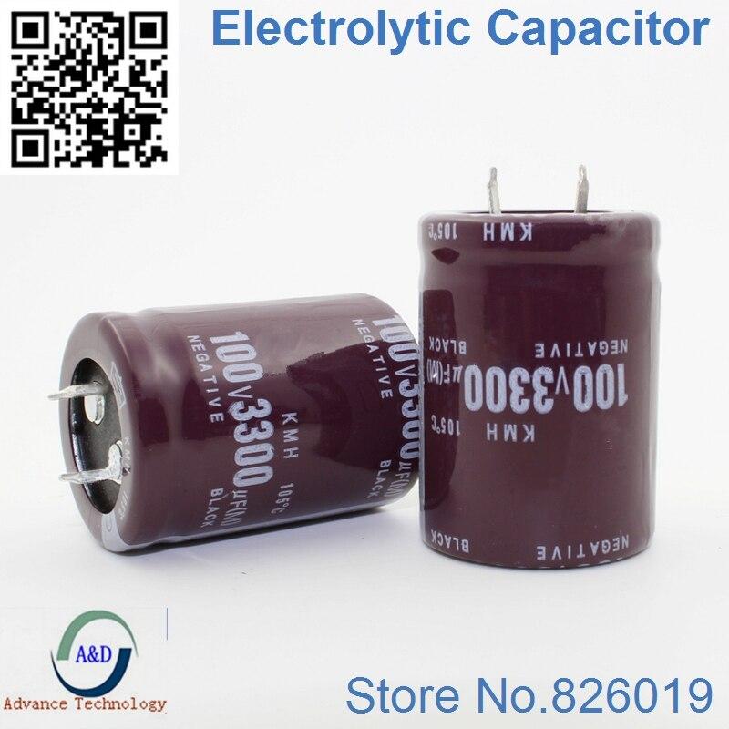 3pcs/lot 100V 3300UF Radial DIP Aluminum Electrolytic Capacitors Size 30*40 3300UF 100V Tolerance 20%