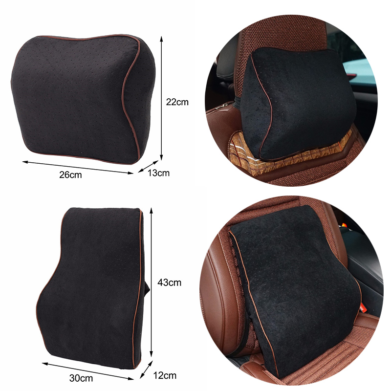 Car Lumbar Cotton Headrest Neck Pillow To Comfort Lower Back Pain 2
