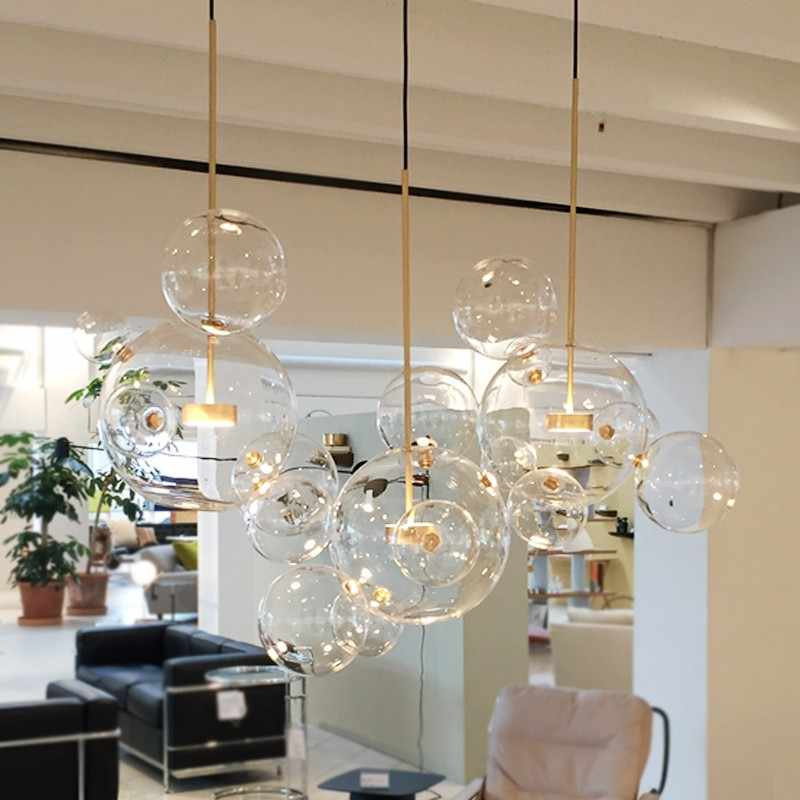 Clear glass ball living room chandeliers art deco lamp shades chandelier Modern indoor lighting restaurant