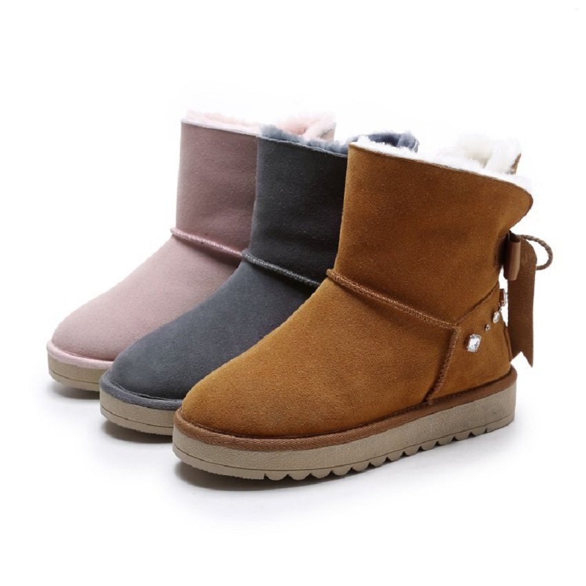 New Arrival Hot Sale Women Crystal Boots Ribbon With Solid Soft Cute Women Snow Boots Round Toe Flat With Wool Shoes XW-63 2017 new arrival hot sale women boots solid bowtie slip on soft cute women snow boots round toe flat with winter shoes wsz31