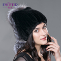 Women's fur hat knitted mink fur cap with big silver fox fur pompom Russian fashion fur headwear good quality female hat