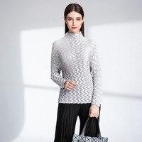 T Shirt Women Plus Size New Turtleneck Long Sleeve Slim Female T Shirts Base T shirts Autumn Miyake Pleats Bottoming Basic Tees