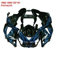 Black Fairing kit For YAMAHA YZF R1 98 99 ( + Blue flames ) 1998 1999 Fairings 7gifts LJ55