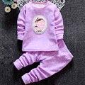Menino bebê infantil conjuntos de roupa interior térmica além de veludo meninas Mobiliário Doméstico engrossado Longo Johns 1-2-3-4 anos de idade roupas no inverno